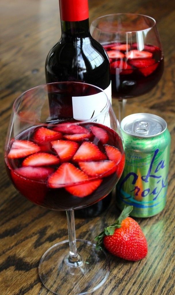 Skinny Strawberry Sangria: Strawberries + LaCroix Lime Sparkling Water + Red Wine.