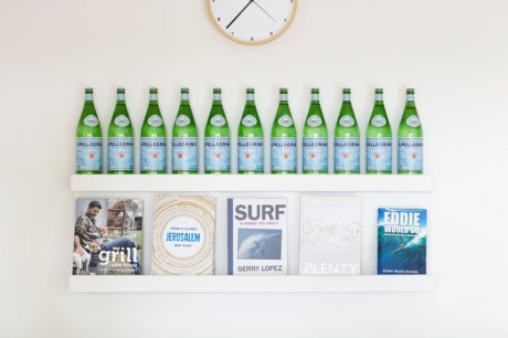 Artistic display of Pelligrino water at beach house