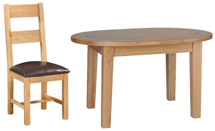 Devonshire New Oak Dining Set - Small D End Extending Table with 4 Ladder Back Chairs