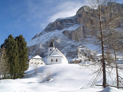Chapel Santa Croce in Ortisei, located at an elevation of 2,045 meters in Val Badia, Trentino/Alto Adige