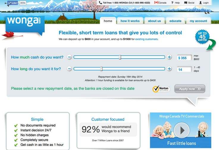 Flexible, short term loans that give you lots of control. Learn more now! >>http://www.wonga.com/