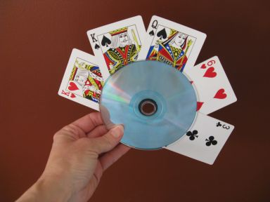 Adapting Creatively: Easy--and Free--Playing Card Holder made from CDs