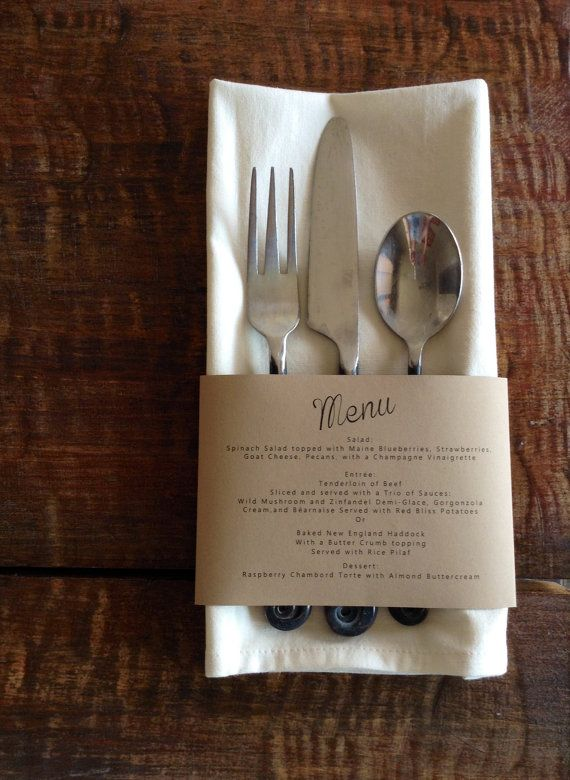 The Menu is design to rap around your napkins for great presentation. This is a great way to jazz up plan napkins and display your Menu. PRICING