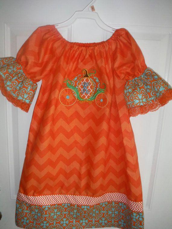 Orange Chevron Pumpkin Carriage Dress by AuBamaBoutique on Etsy