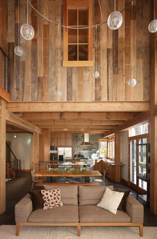 .Reclaimed Barns Wood, Dreams, Contemporary Kitchens, Interiors, Open Floors Plans, Living Room, House, Wood Wall, Barns Home