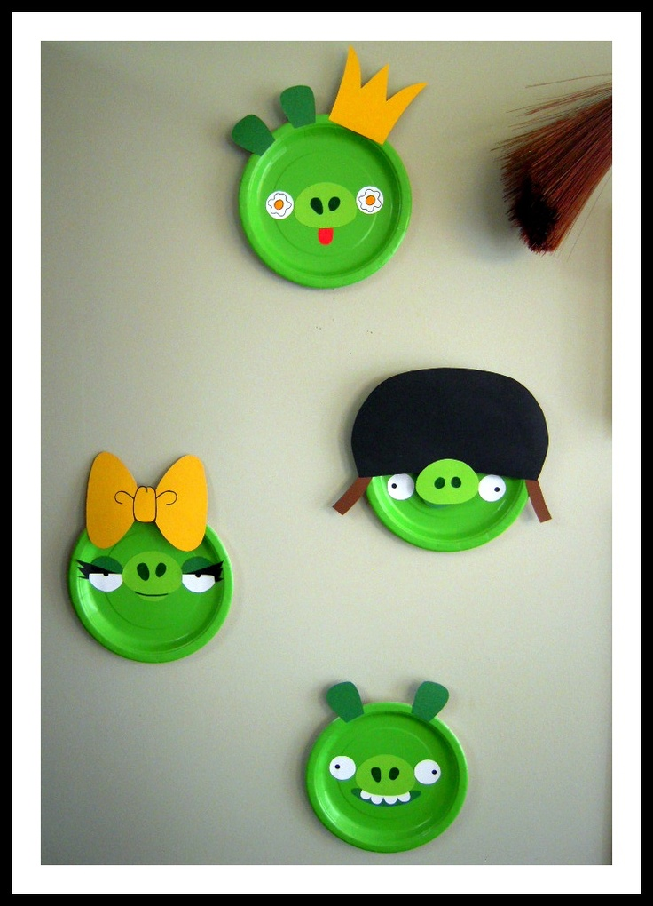 Angry Bird Birthday Party decorations.  I made these pigs with green paper…