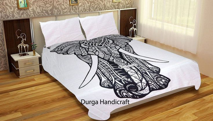 Indian Elephant Mandala Queen Size Duvet Doona Cover Bedding With Two Pillow Art #Handmade #Traditional #DoonaCoverDuvetCoverQuiltCover
