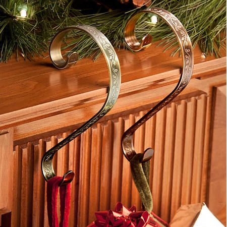 brass stocking hangers for mantle - Google Search