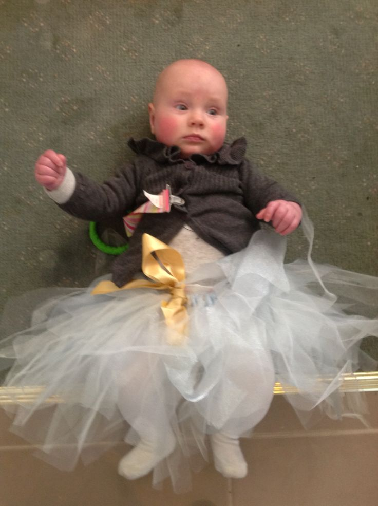 Baby Tutu with tulle and gold ribbon (my niece Etta is the model) xx