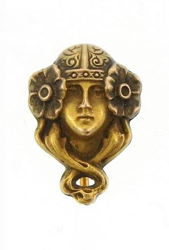Art Nouveau Gold Portrait Stick Pin.