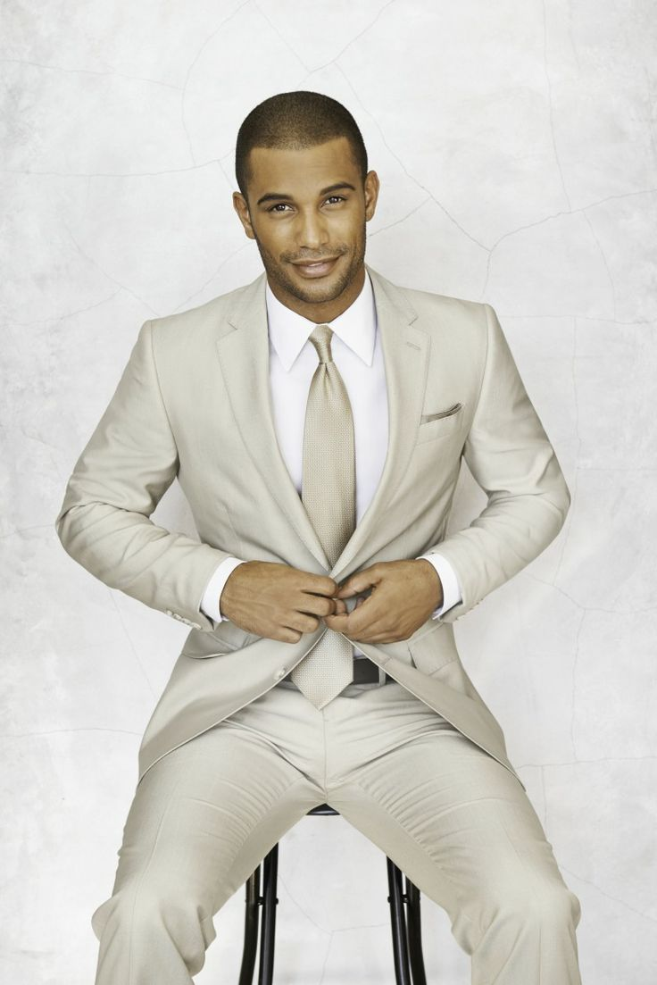 Shop this look on Lookastic:  http://lookastic.com/men/looks/white-dress-shirt-beige-tie-beige-suit/9401  — White Dress Shirt  — Beige Tie  — Beige Suit
