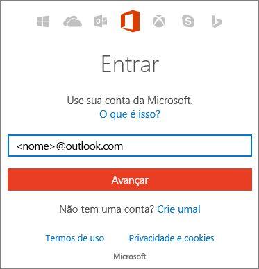 Captura de tela da página de entrada da conta da Microsoft
