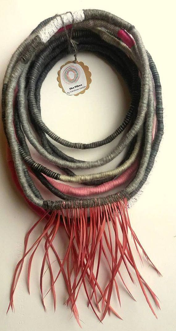 Unique/ Yarn Wrapped Necklace/ Handmade Jewelry/ African