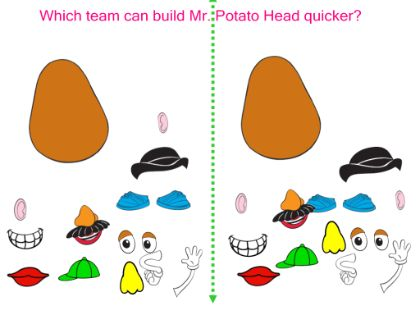 Body Parts: Mr. Potato Head Game. Give directions using body parts.