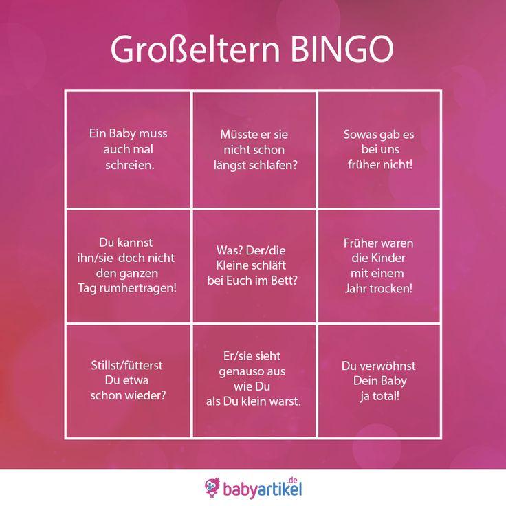 So geht's:  Beim nächsten Besuch von Oma und Opa Bingo-Karte ausdrucken. Jedes Mal, wenn einer der Sprüche fällt, das entsprechende Feld durchstreichen. Und wenn eine Reihe voll ist, aufspringen und #Bingo rufen    #visualstatments #ausliebe