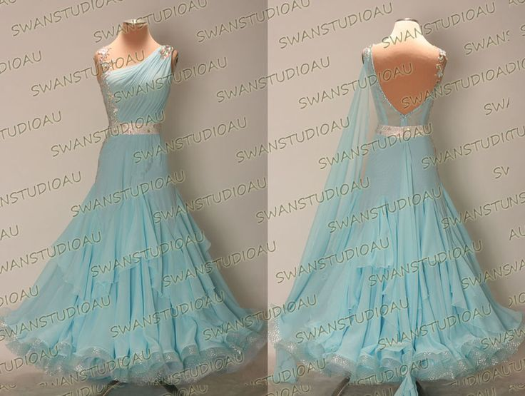 A BRAND NEW READY TO WEAR AQUA BLUE GEORGETTE BALLROOM DANCE DRESS SIZE:S US 4-6 #Swanstudioau