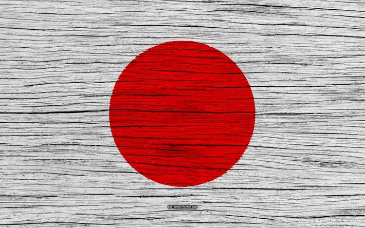 Download wallpapers Flag of Japan, 4k, Asia, wooden texture, Japanese flag, national symbols, Japan flag, art, Japan