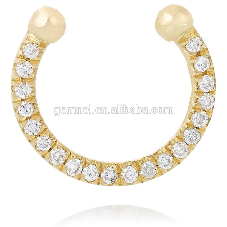 Gemnel latest diamond cuff 18 karat gold simple finger and nose ring jewelry