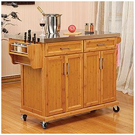 Bamboo Stainless Steel Top Kitchen Cart at Big Lots.