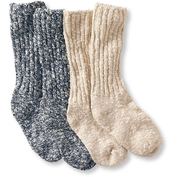L.L.Bean Women's Cotton Ragg Camp Socks,Two-Pack ($20) ❤ liked on Polyvore featuring intimates, hosiery, socks, socks/tights, accessories, moisture wicking socks, cotton hosiery, wicking socks, sweat wicking socks and cotton socks