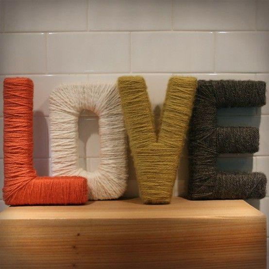 Cardboard box letters wrapper in yarn. Love love it