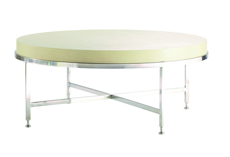 Galleria Chalk White on Ash Round Cocktail Table with a Brushed Stainless Steel Base.
