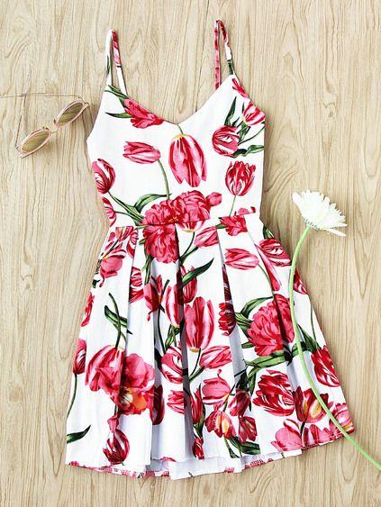 Floral Print Random Box Pleat Cami Dress