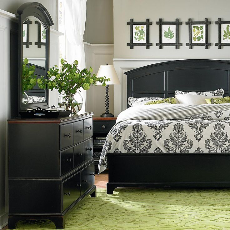 Aspen grove collection bassett furniture spaces Green and black bedroom