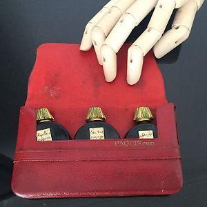 PAQUIN - Set dans leur Etui Cuir Rouge Ancien 1950 - Antique Perfume | eBay