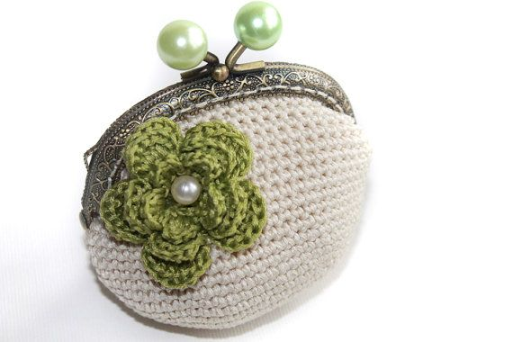 Coin Purse Mint Green Crochet Coin Purse  mint by LiveFashion