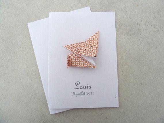 Faire part de naissance - baptême - carte de remerciement renard en origami pour fille ou garçon orange