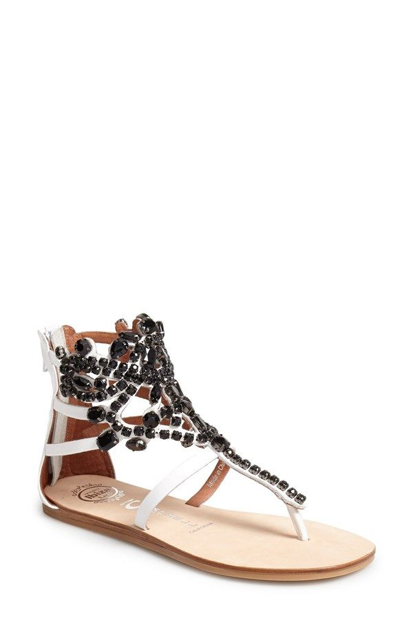 'Prizzy' Sandal in White with Black crystal