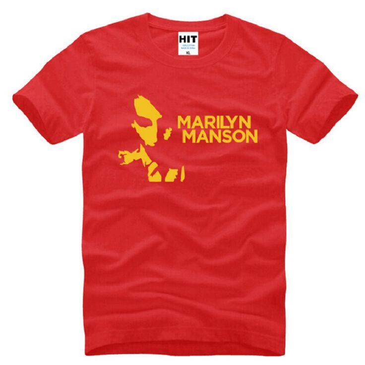 Famous Brand Marilyn Manson Metal Rock T Shirts Men Cotton Short Sleeve Printed Men's T-Shirt Fashion Male Music Rock Tee Shirt #Affiliate