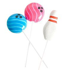 Our Bowling Lollipops have the look of brightly colored bowling balls and pins. These lollipops measuresapproximately 2 inches with a 4 inch stick.