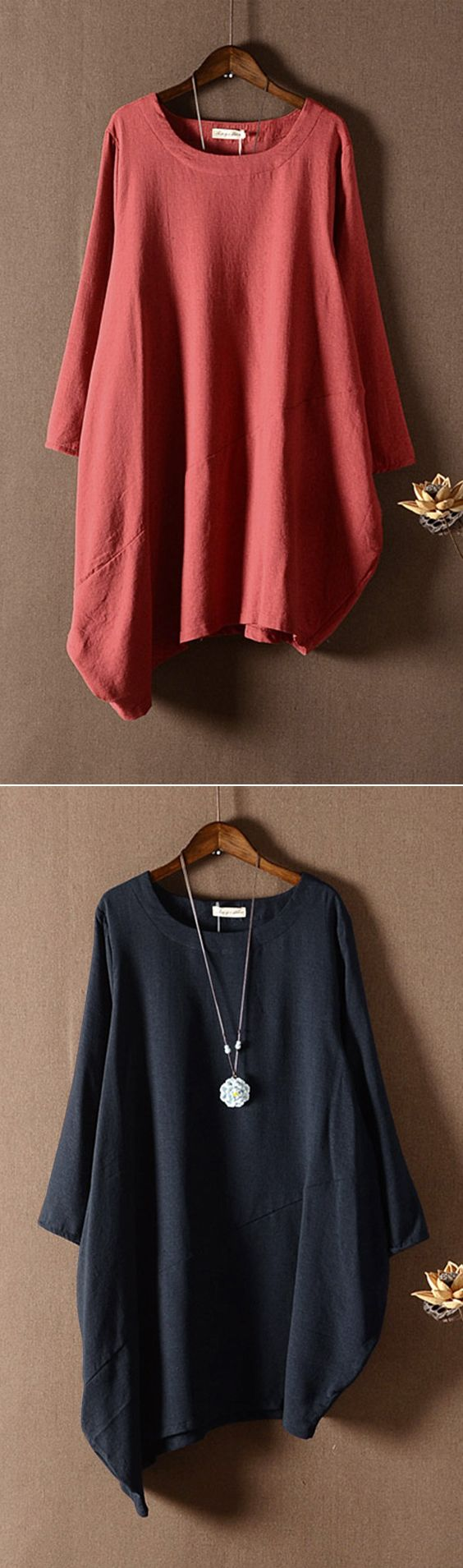 O-NEWE Casual Solid Long Sleeve Irregular Blouse For Women #fashion #style