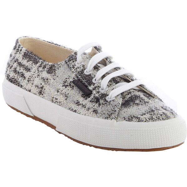 Superga Black And White Metallic Canvas 'man Repeller X Superga'... (£59) ❤ liked on Polyvore featuring shoes, sneakers, superga sneakers, lace up shoes, black white sneakers, black and white sneakers and black and white trainer