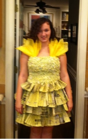 Sam I Am Dress, made using the 'yellow pages', old girl scout registrations that were shredded and yellow plastic table cloth & tissue paper, along with yellow duct tape.