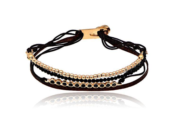 Βραχιόλι με μαύρα cz και όνυχα από ασήμι επιχρυσωμένο 925.Bracelet with black cz and onyx made by rose gold-plated silver 925. Price : 105€