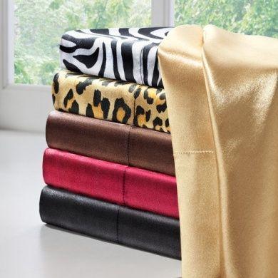 JLA Basic Solid Satin 6 Piece Sheet Set Size: King, Colour: Black