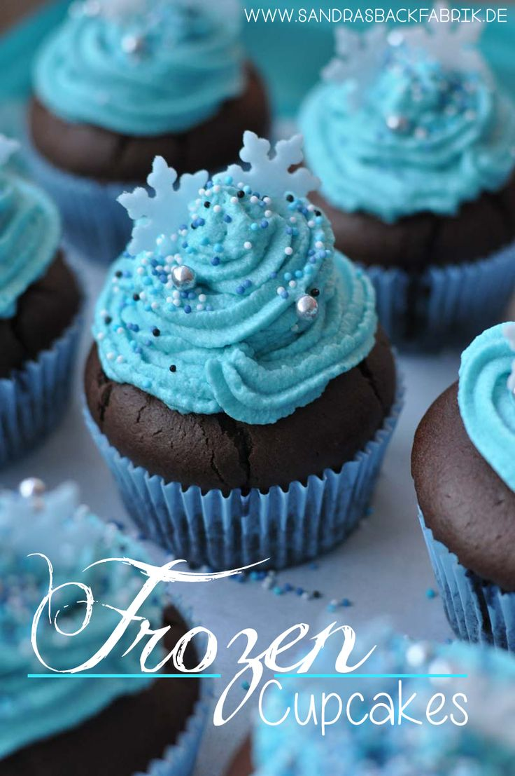 Delicious chocolate blueberry muffins with blue cream …