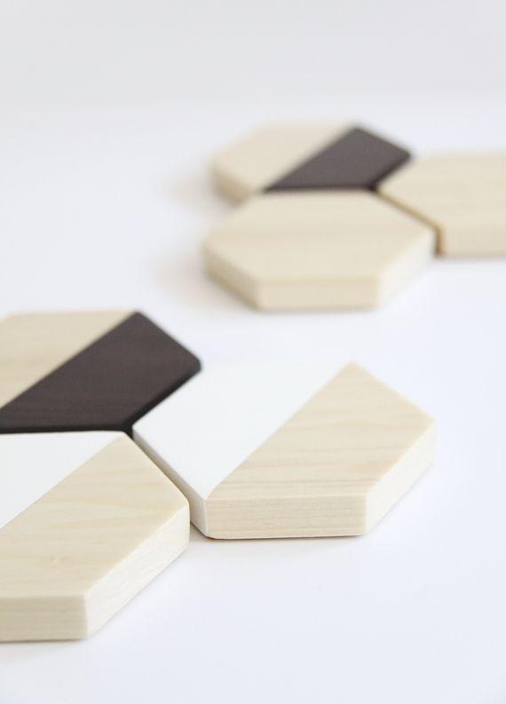 DIY Wood Hexagon Coasters, from Jade and Fern