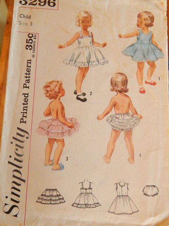 50s Ruffled Girls Lingerie Size 3