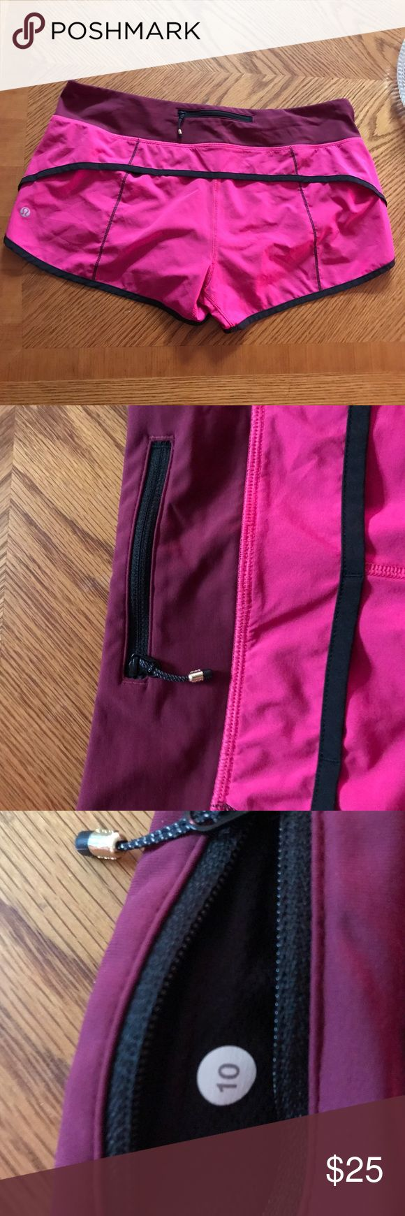 Lululemon Speed Shorts size 10 Goood condition other then shorts has no drawstring as it was  remove can easily be repair for a   new waist drawstring  for free at a local lululemon store  no papers needed price is set according. size 10 pink and burgundy colors. lululemon athletica Shorts