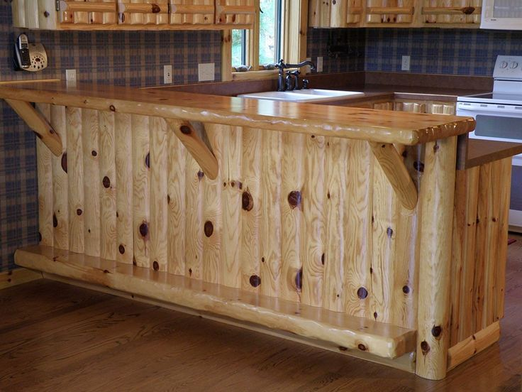 Island Lake Home | WoodHaven Log & Lumber - Knotty pine kitchen bar