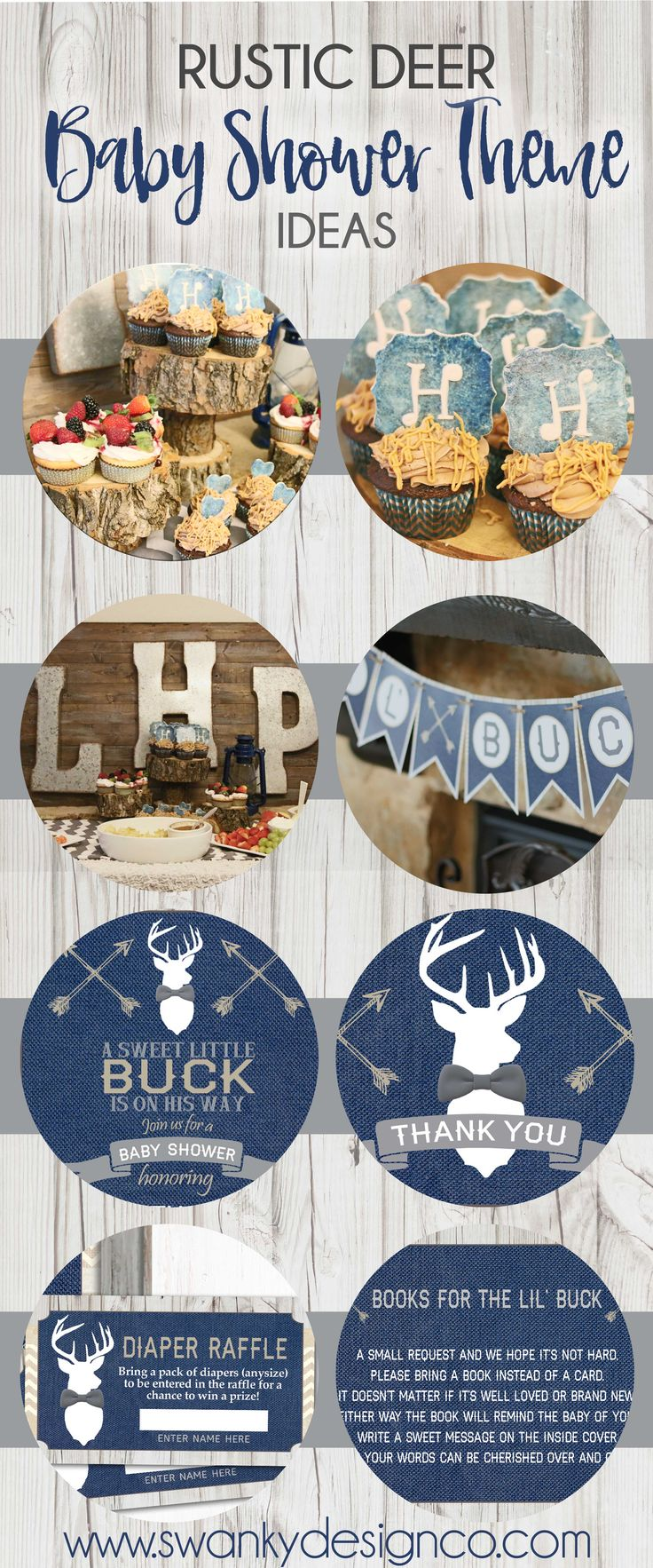 Rustic Deer Baby Shower Theme Ideas, Little Buck Baby Shower Theme, Navy and Gray Deer Baby Shower, Bowtie Deer Baby Shower, Deer Baby Shower Invitations