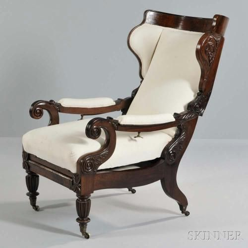~ Anglo-Colonial Campaign-style Rosewood Reclining Armchair ~ bidsquare.com