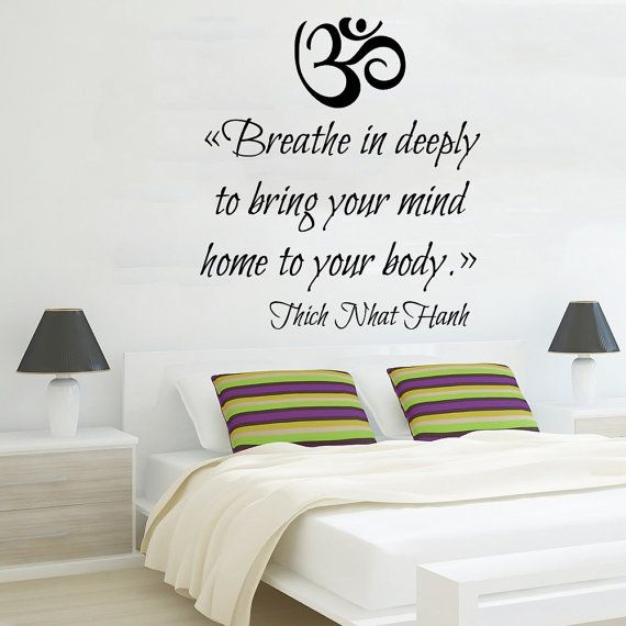 Om sign wall decal quote breathe in deeply to bring your for Living room quote decals