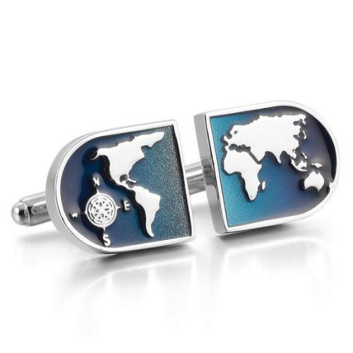 Stunning world map cufflinks. unique men fashion. Makes a great gift for men.