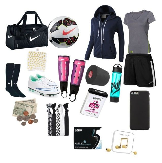 """What's in my soccer bag game/ practice"" by thepandalover on Polyvore featuring NIKE, Under Armour, LE3NO, Case-Mate, BaubleBar, Wrigley's and Happy Plugs"