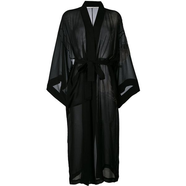 Isabel Benenato long belted kimono (16 175 UAH) ❤ liked on Polyvore featuring intimates, robes, sleepwear, black, long robe, isabel benenato, long silk robe, silk kimono and silk kimono robe